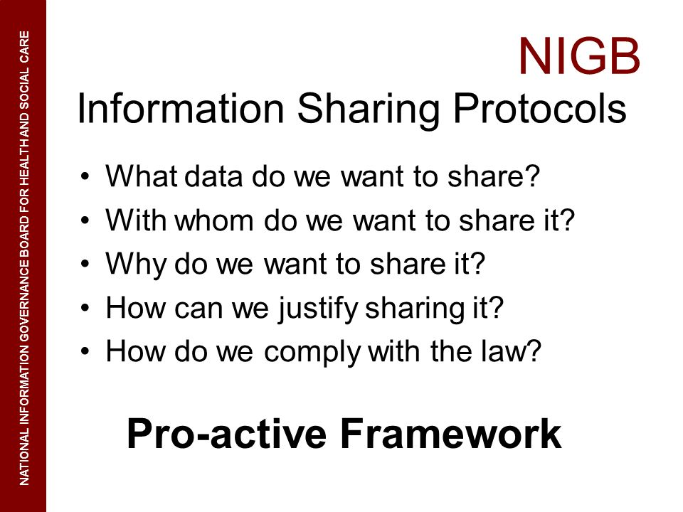Information Sharing Protocols