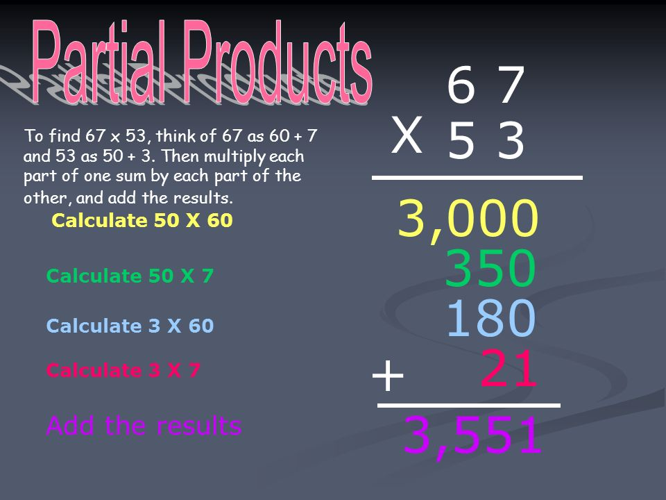 6 7 X 5 3 3, ,551 Partial Products Add the results