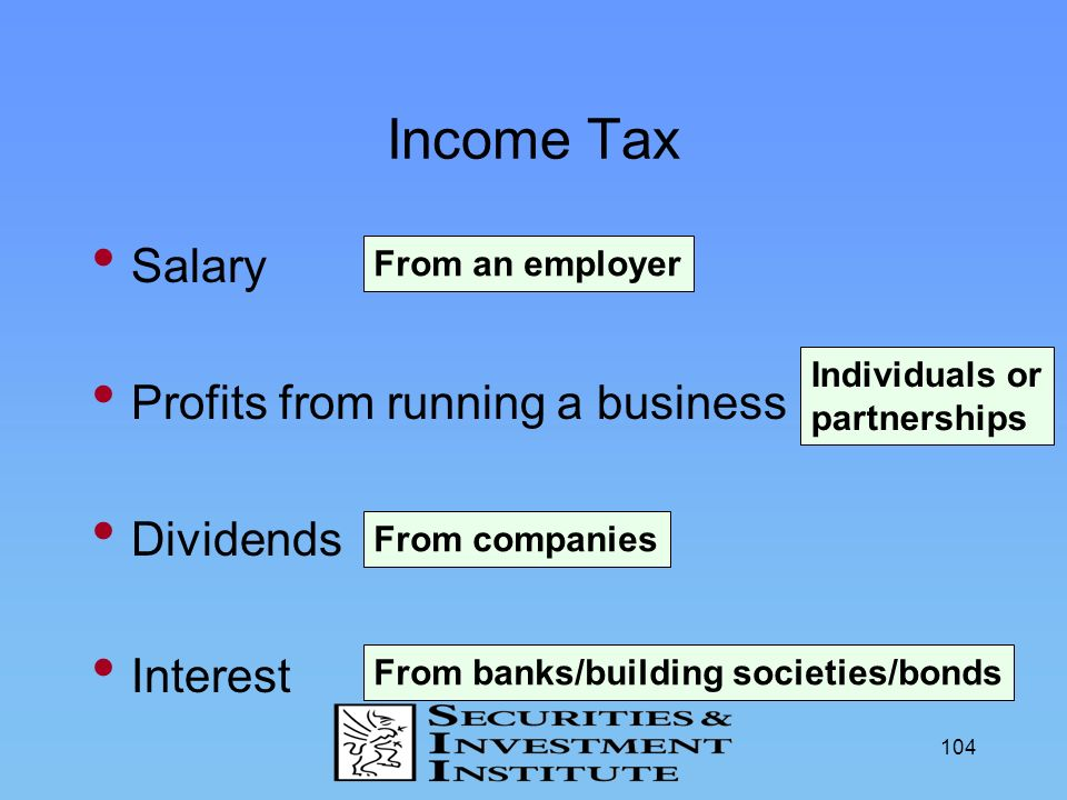 Income Tax Salary Profits from running a business Dividends Interest