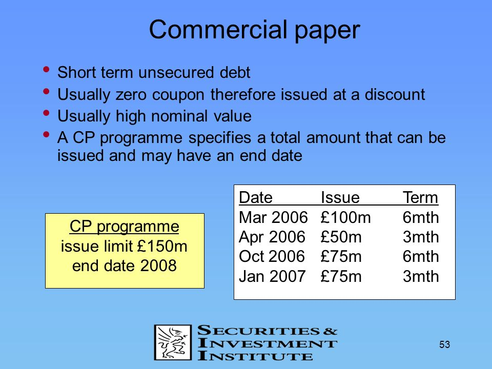 Commercial paper Short term unsecured debt