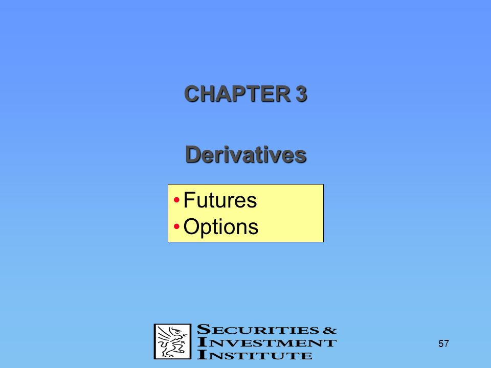 CHAPTER 3 Derivatives Futures Options