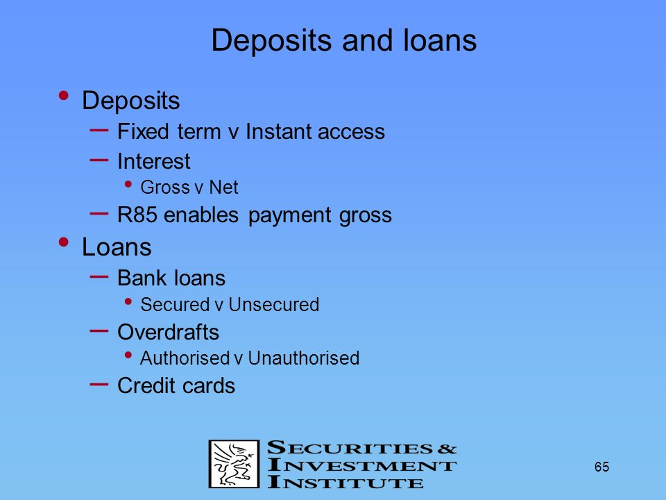 Deposits and loans Deposits Loans Fixed term v Instant access Interest