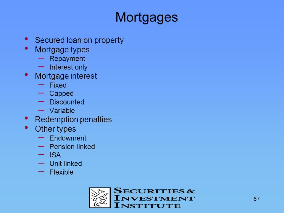Mortgages Secured loan on property Mortgage types Mortgage interest