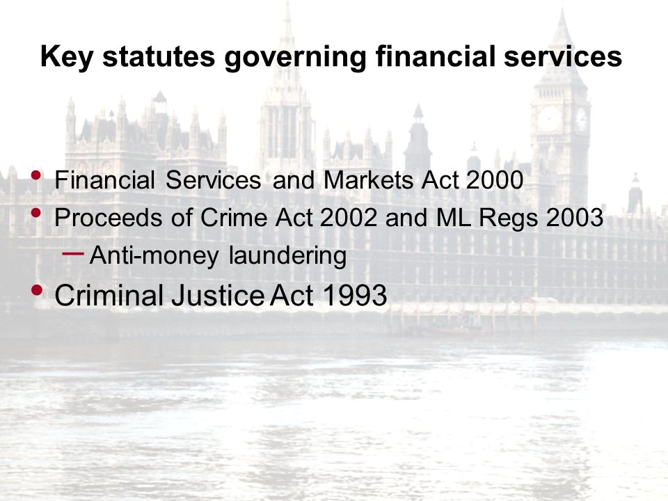 Key statutes governing financial services