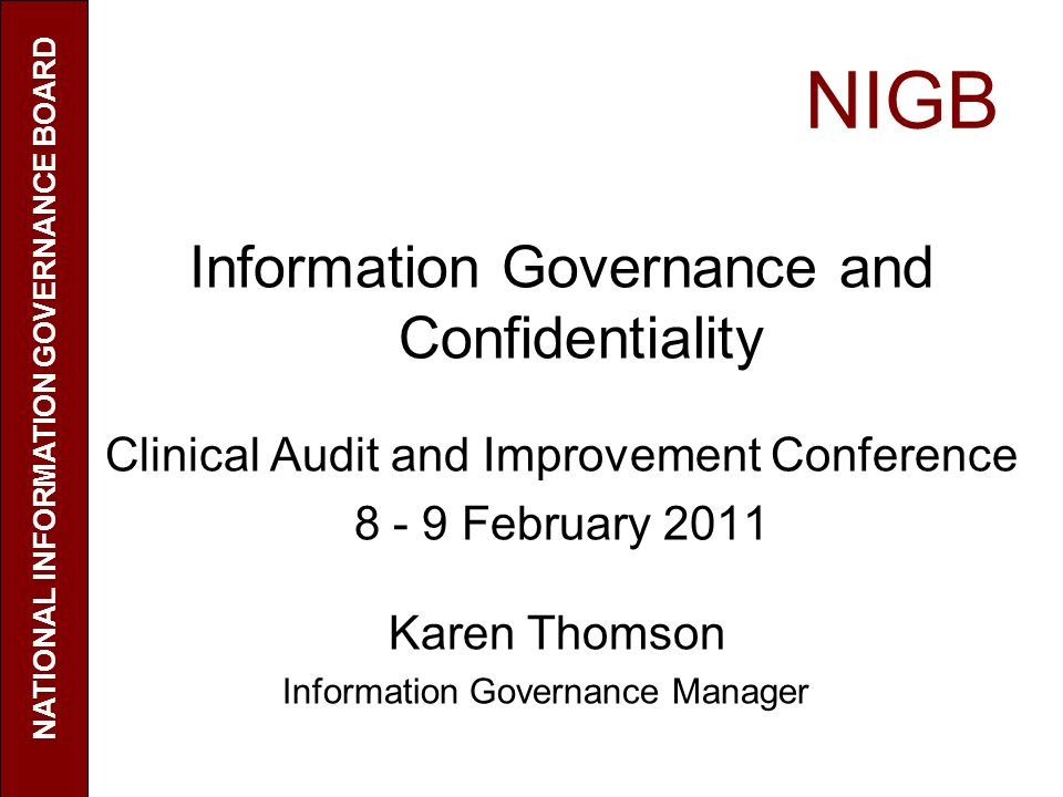 NATIONAL INFORMATION GOVERNANCE BOARD