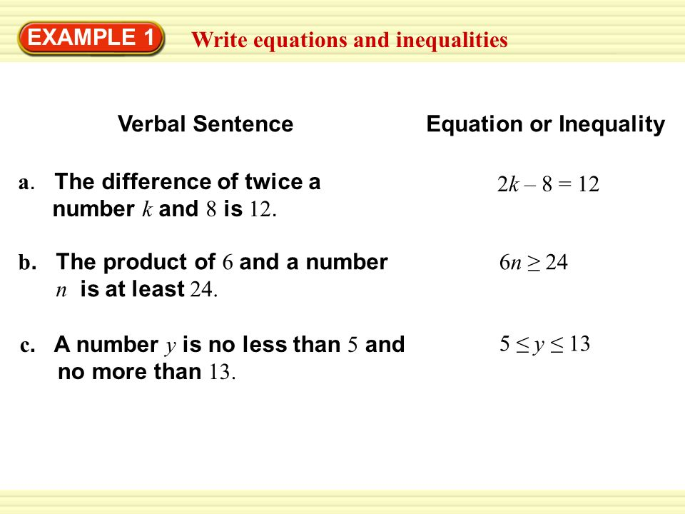 1.4 Write Equations and Inequalities - ppt video online download