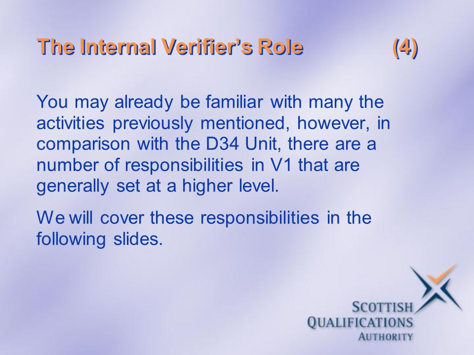 The Internal Verifier's Role (4)