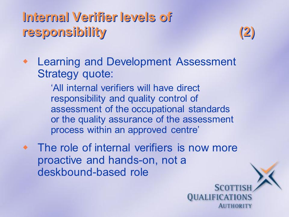 Internal Verifier levels of responsibility (2)