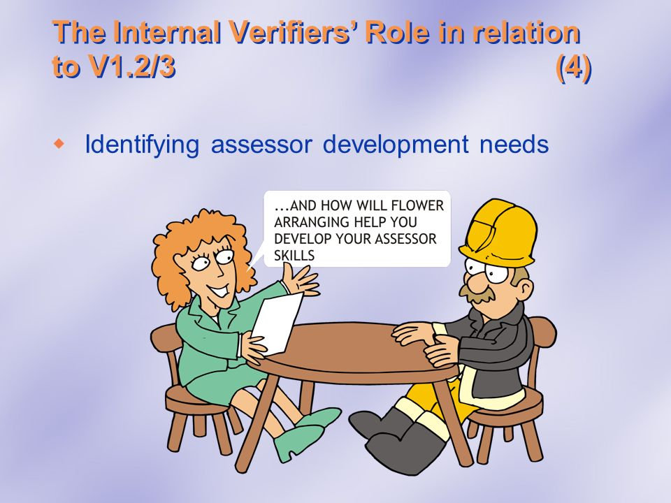 The Internal Verifiers' Role in relation to V1.2/3 (4)