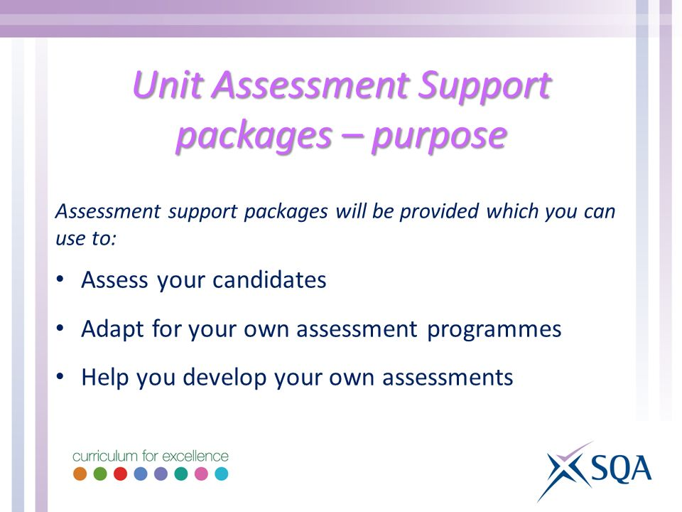 Unit Assessment Support packages – purpose