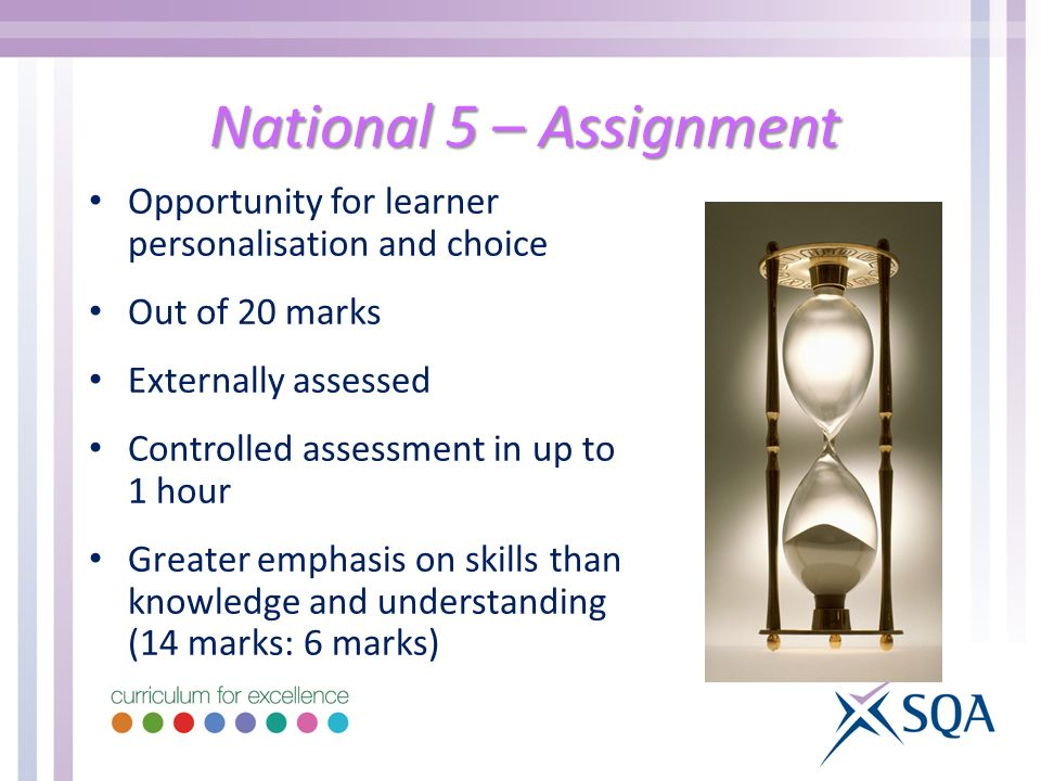 National 5 – Assignment Opportunity for learner personalisation and choice. Out of 20 marks. Externally assessed.