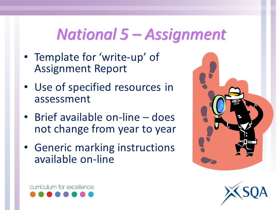 National 5 – Assignment Template for 'write-up' of Assignment Report