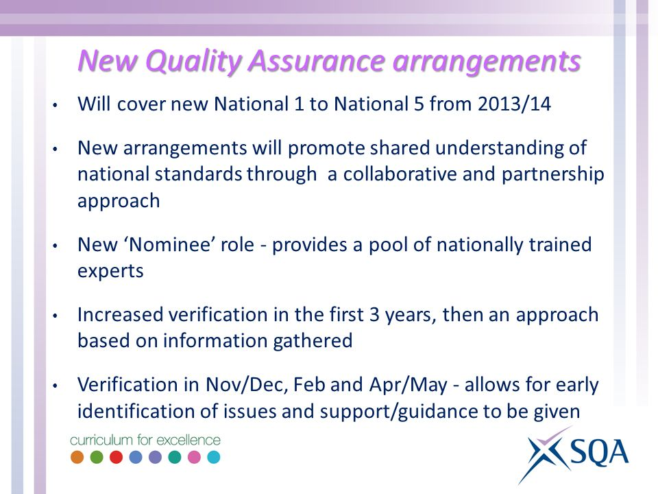 New Quality Assurance arrangements