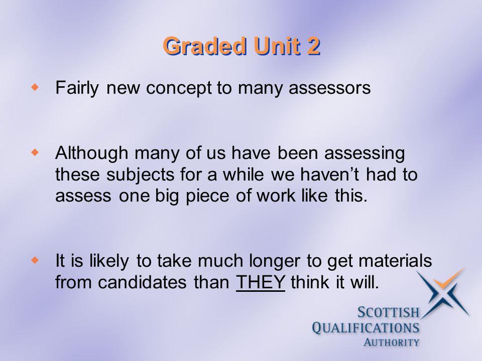 Graded Unit 2 Fairly new concept to many assessors