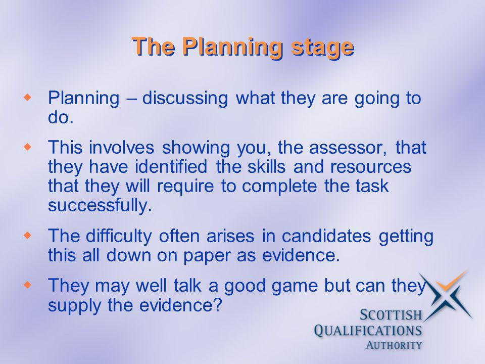 The Planning stage Planning – discussing what they are going to do.