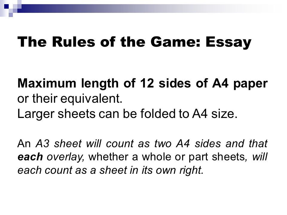 The Rules of the Game: Essay
