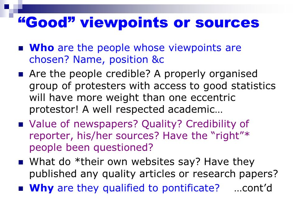Good viewpoints or sources
