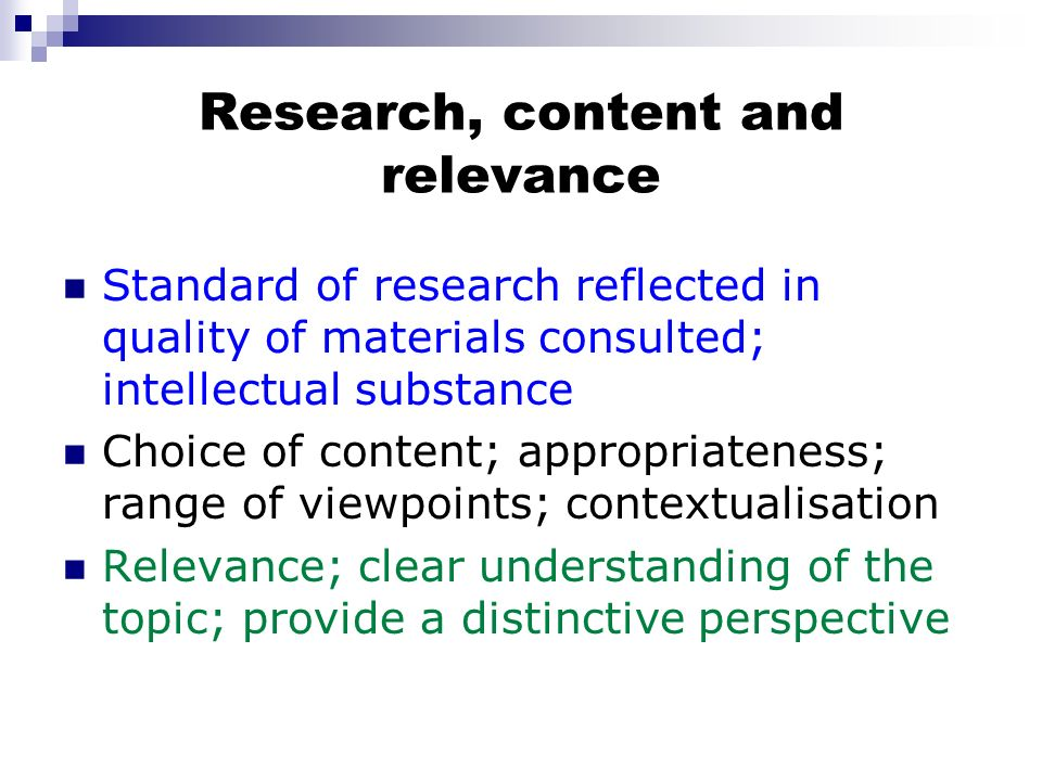Research, content and relevance