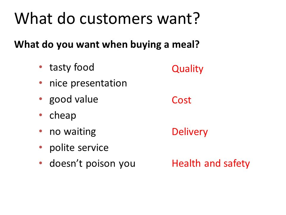 What do customers want What do you want when buying a meal