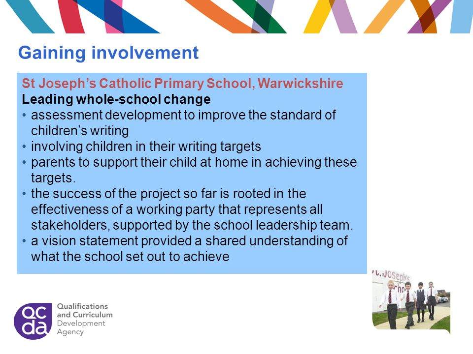 Gaining involvement St Joseph's Catholic Primary School, Warwickshire