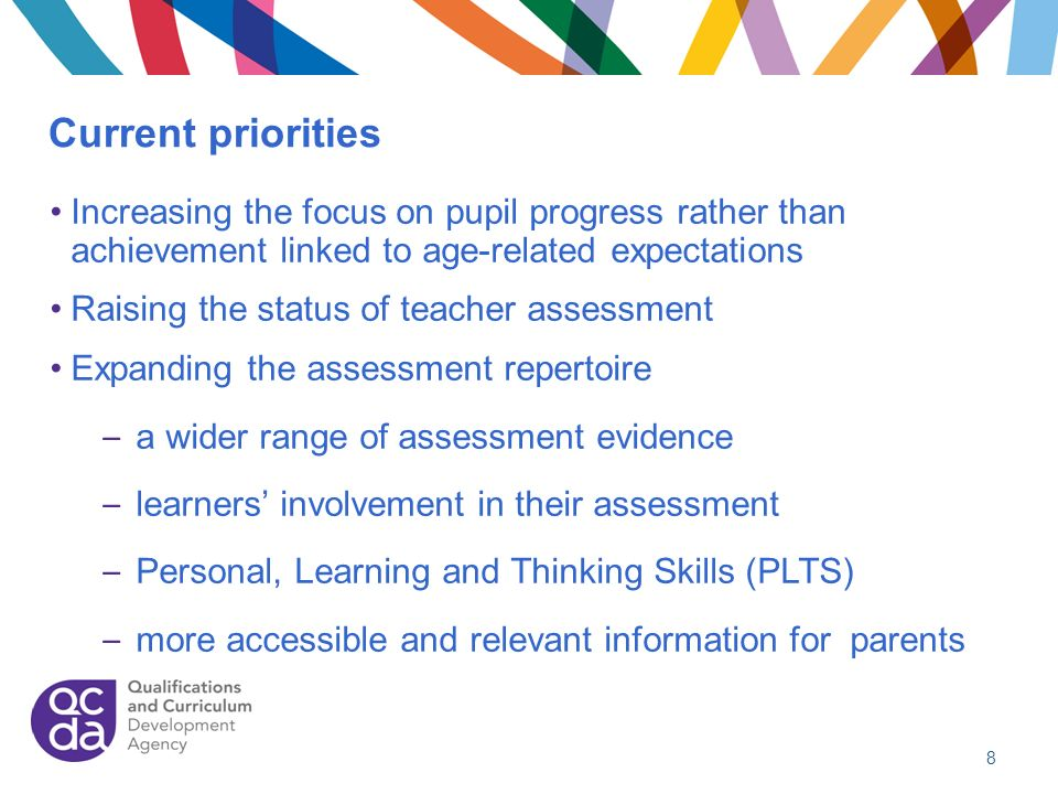 Current priorities Increasing the focus on pupil progress rather than achievement linked to age-related expectations.