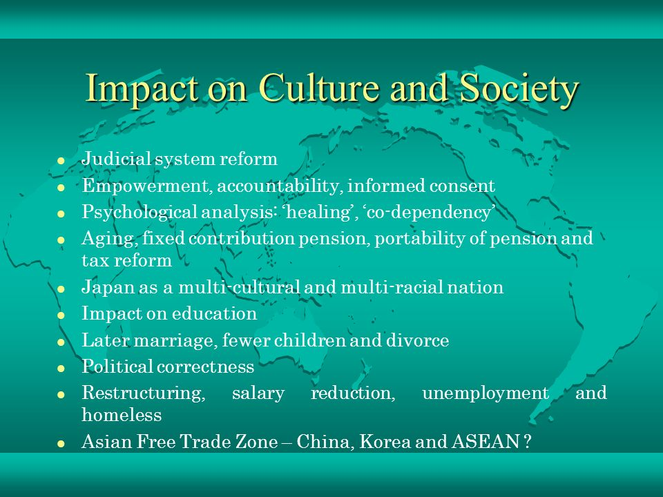 the impact of popular culture in our lives Culture affects many facets of people's lives, ranging from individual decisions to interpersonal interactions and shaping a society's worldview culture is a complex subject with many components essentially, it is a set of learned behaviors and patterns that a certain group of people develop.