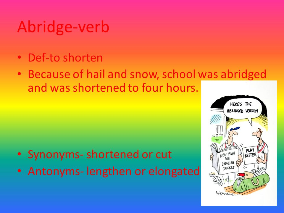 Yet another vocab powerpoint set6 ppt download 17 abridge verb m4hsunfo