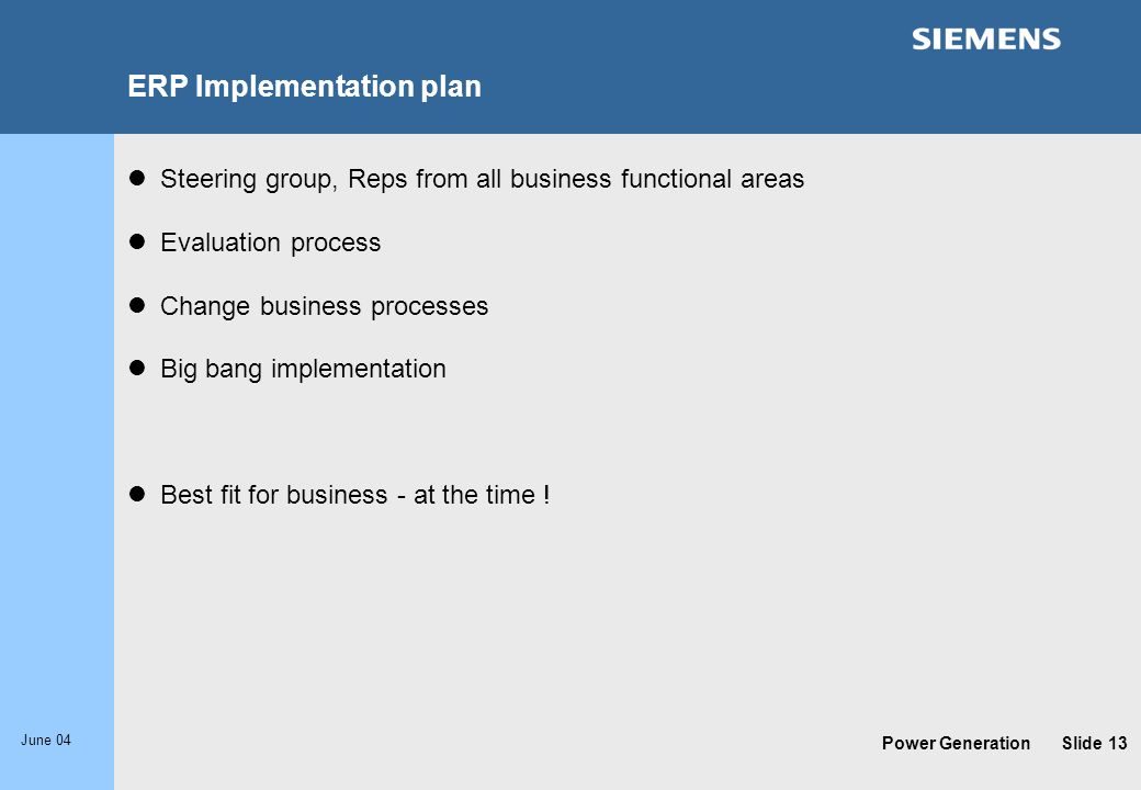 ERP Implementation plan
