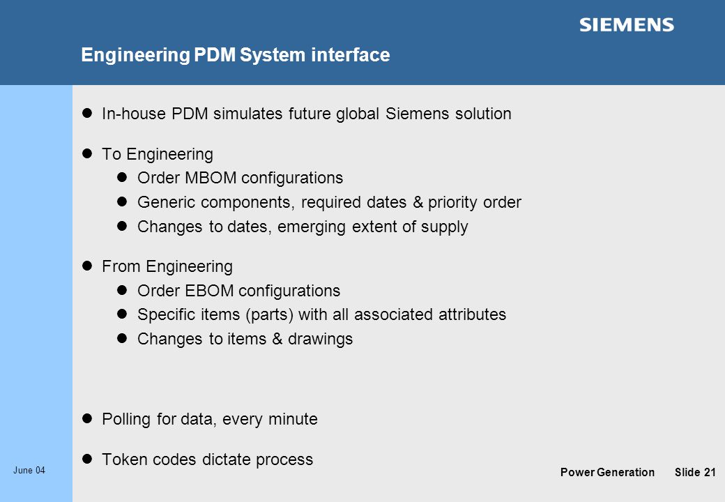 Engineering PDM System interface