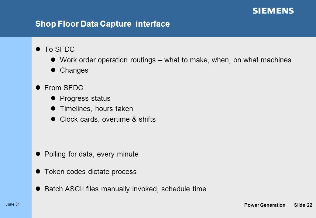 Shop Floor Data Capture interface
