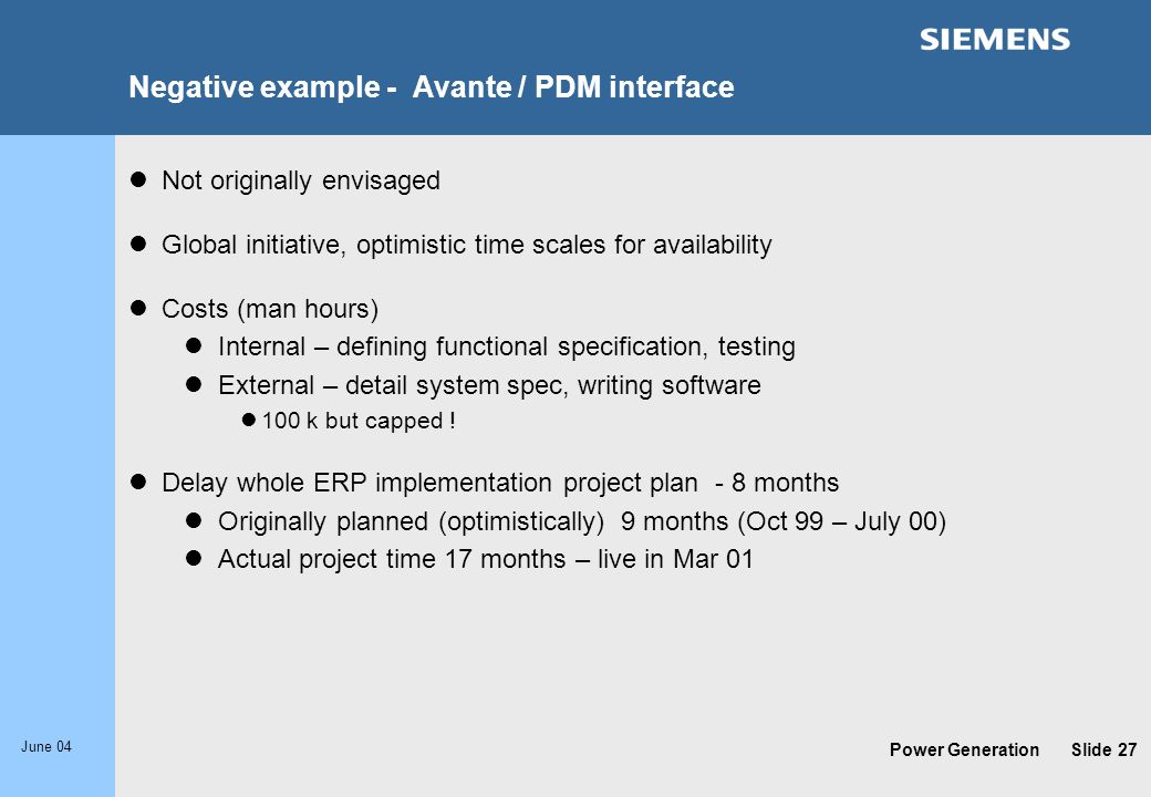 Negative example - Avante / PDM interface
