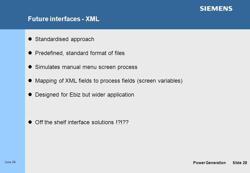 Future interfaces - XML