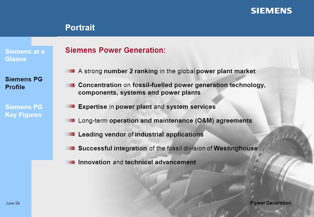 Portrait Siemens Power Generation: Siemens at a Glance