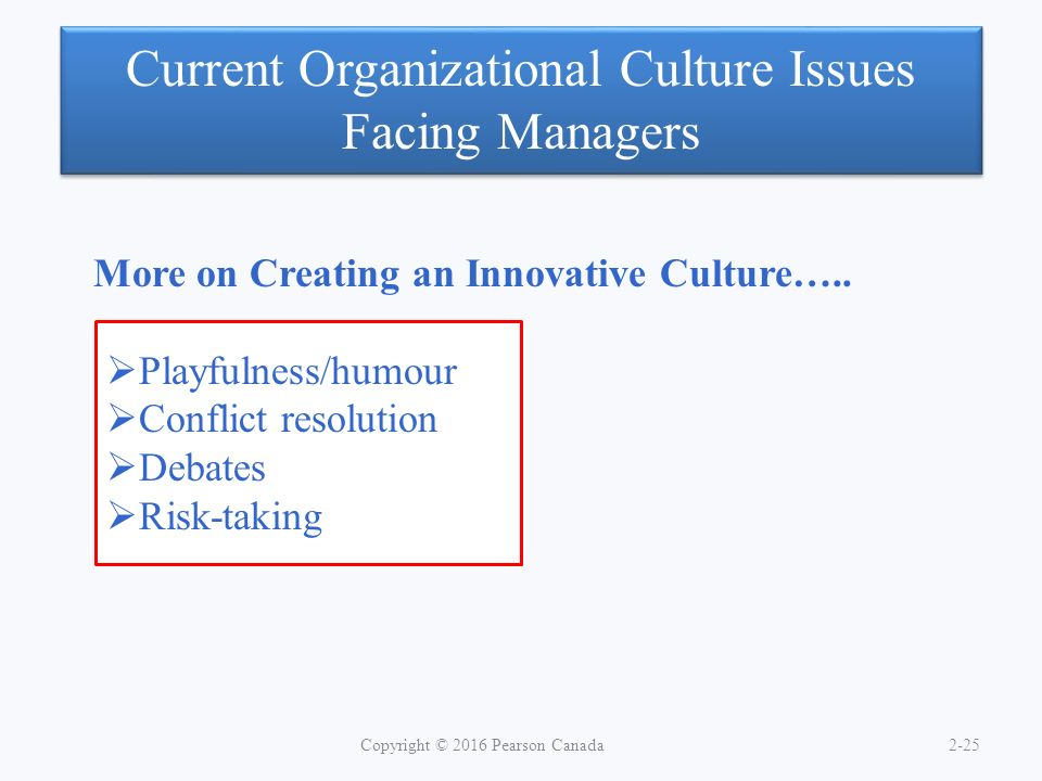 Current Organizational Culture Issues Facing Managers