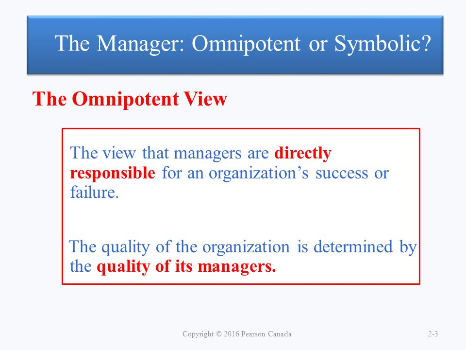 The Manager: Omnipotent or Symbolic