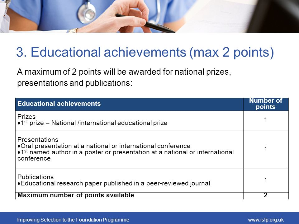 3. Educational achievements (max 2 points)