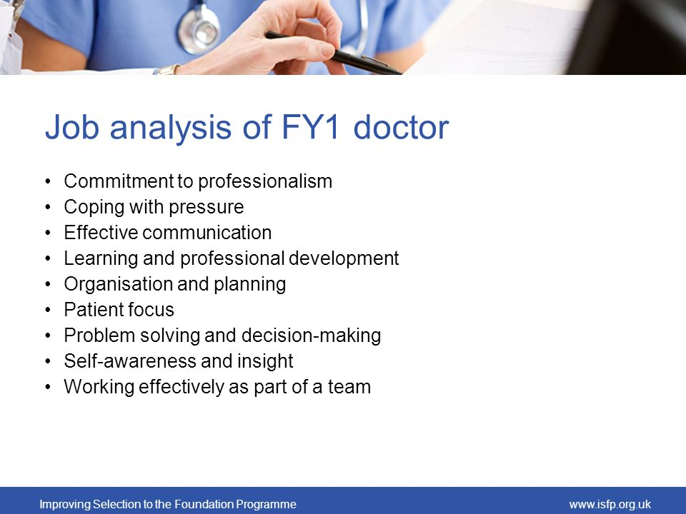 Job analysis of FY1 doctor