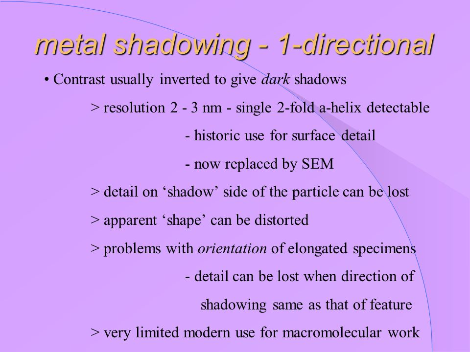 metal shadowing - 1-directional