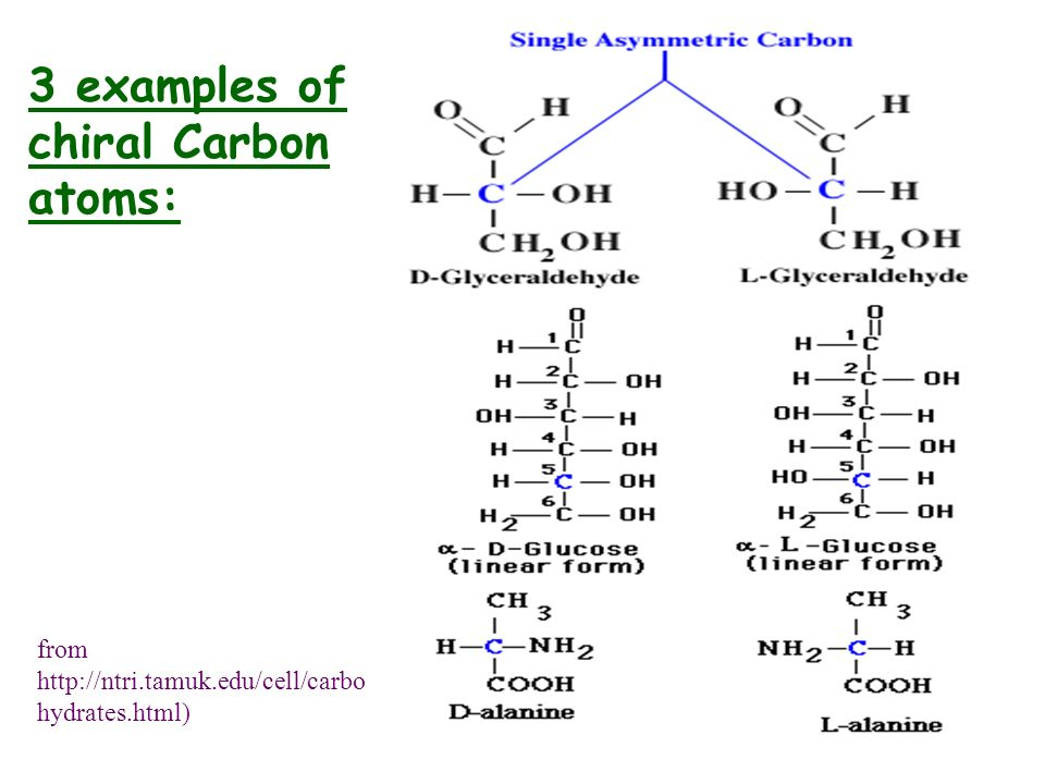 3 examples of chiral Carbon atoms: