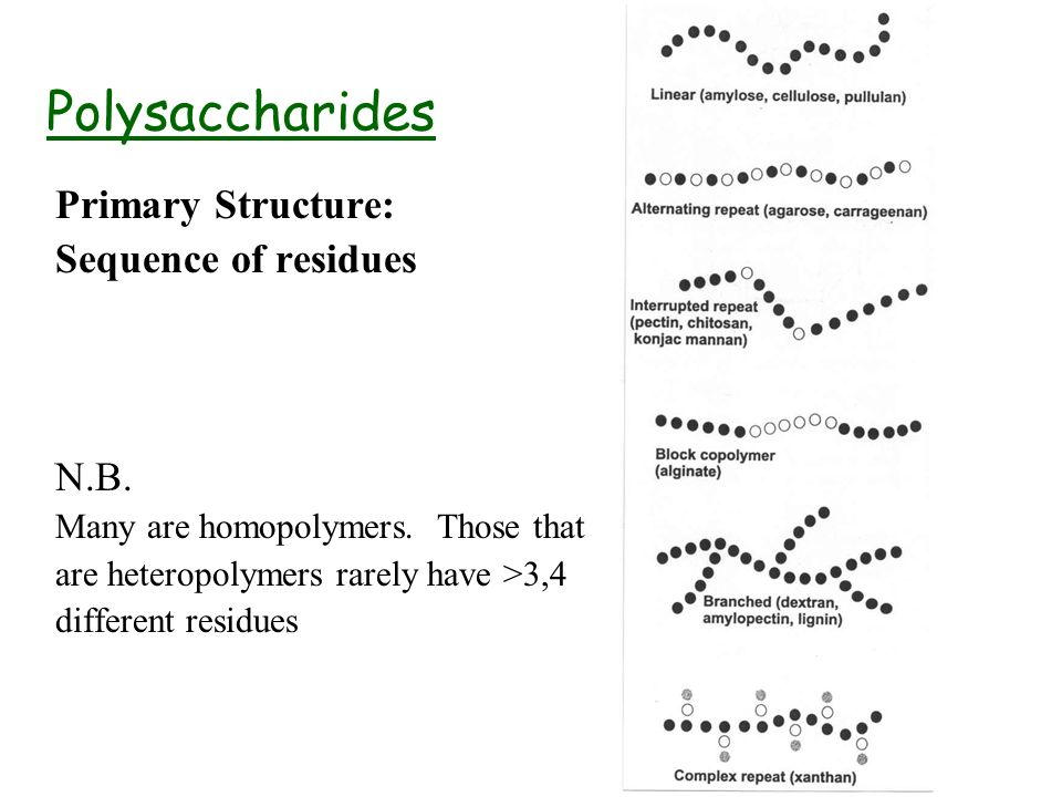 Polysaccharides Primary Structure: Sequence of residues N.B.