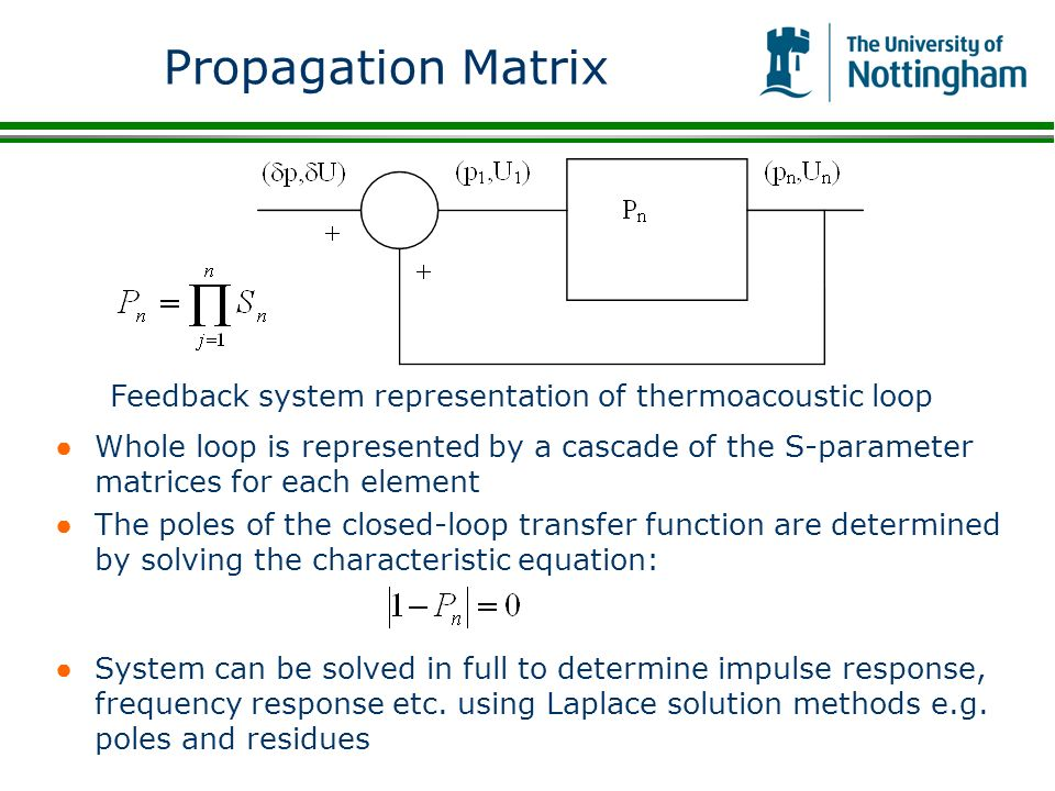 Propagation Matrix Feedback system representation of thermoacoustic loop.
