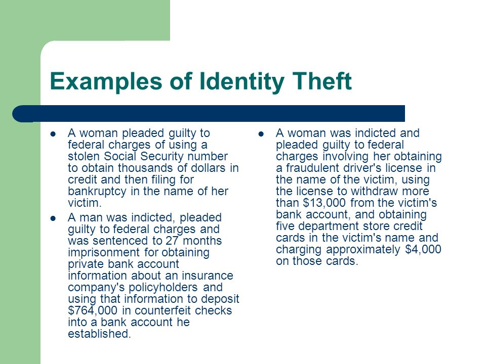 the sentence identity theft essay Identity theft is the act of knowingly transferring or using without lawful authority, a means of identification of another person with the intent to commit, or to aid or abet, any unlawful activity that constitutes a violation of federal law, or that constitutes a felony under any applicable state law.