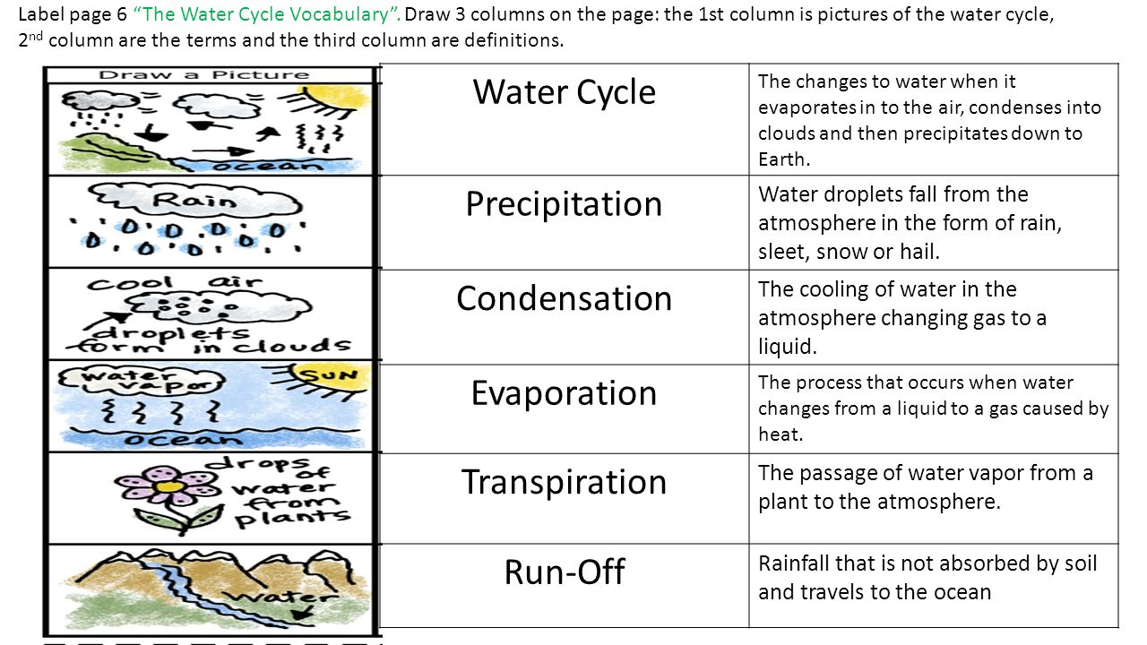 The Water Cycle On The Entire Page 5 Label And Create The Water