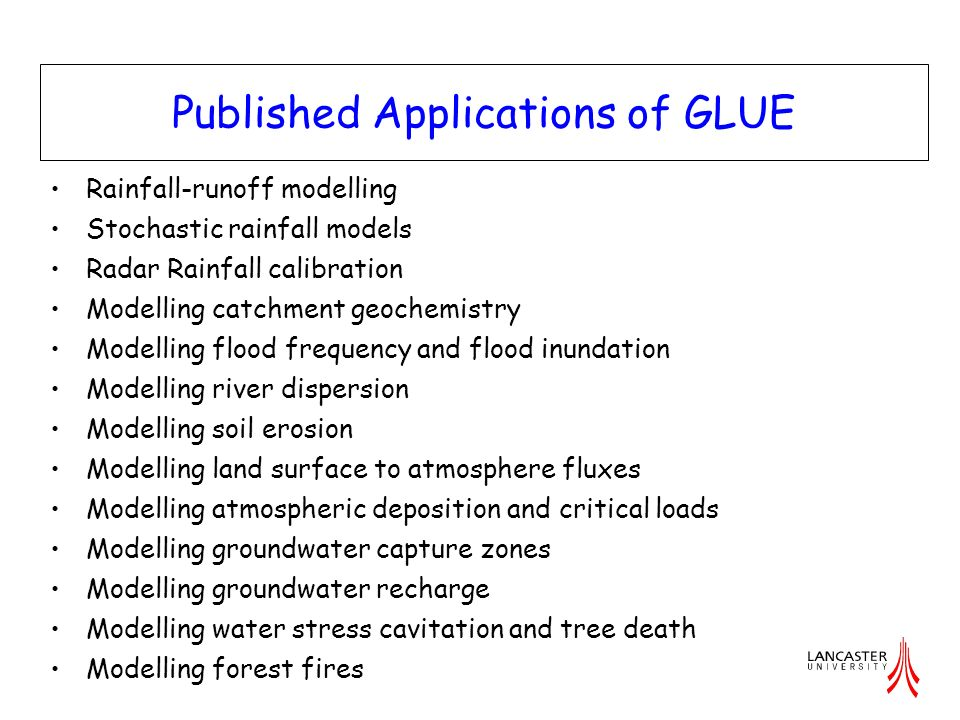 Published Applications of GLUE