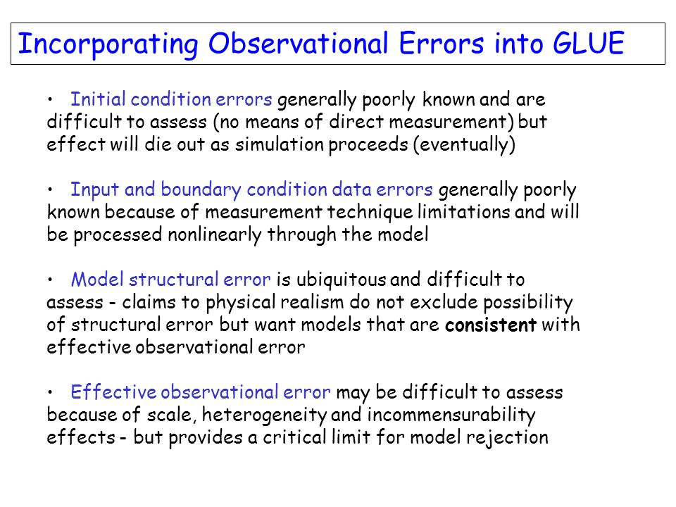 Incorporating Observational Errors into GLUE