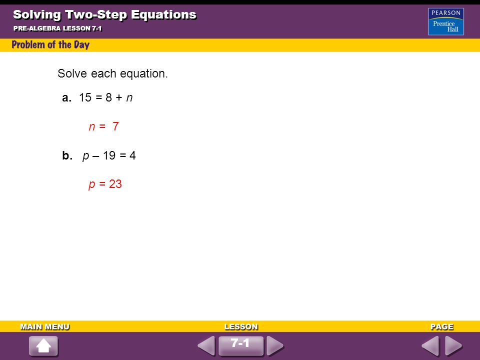 Solving Two Step Equations Ppt Download