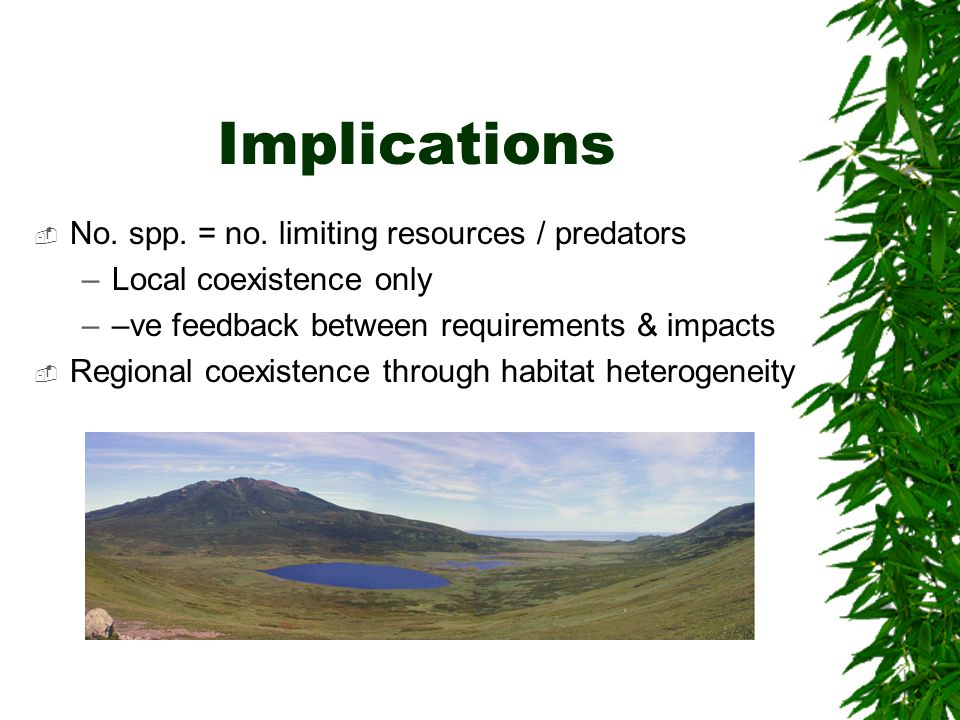 Implications No. spp. = no. limiting resources / predators