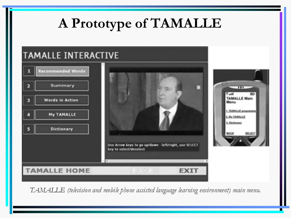 A Prototype of TAMALLE TAMALLE (television and mobile phone assisted language learning environment) main menu.