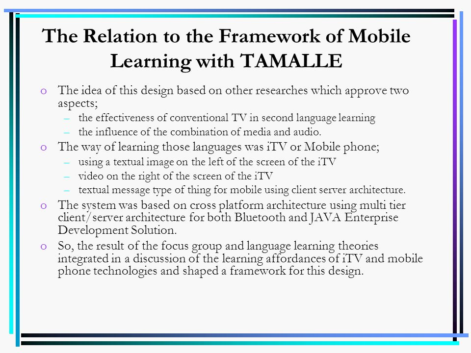 The Relation to the Framework of Mobile Learning with TAMALLE