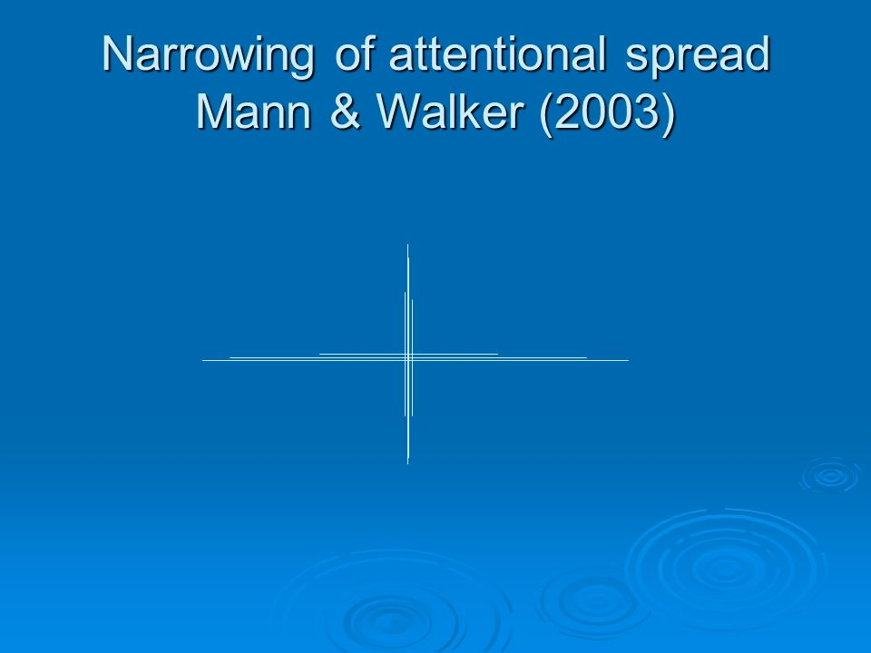 Narrowing of attentional spread Mann & Walker (2003)